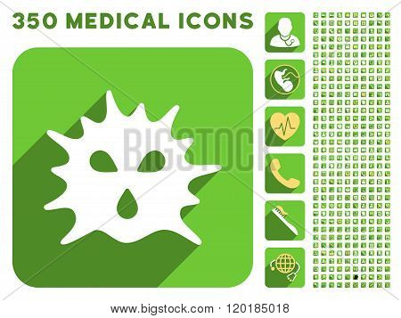 Virus Structure Icon and Medical Longshadow Icon Set