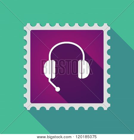 Long Shadow Mail Stamp Icon With  A Hands Free Phone Device