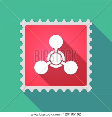 Long Shadow Mail Stamp Icon With A Chemical Weapon Sign