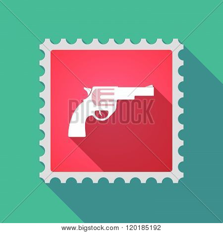 Long Shadow Mail Stamp Icon With A Gun