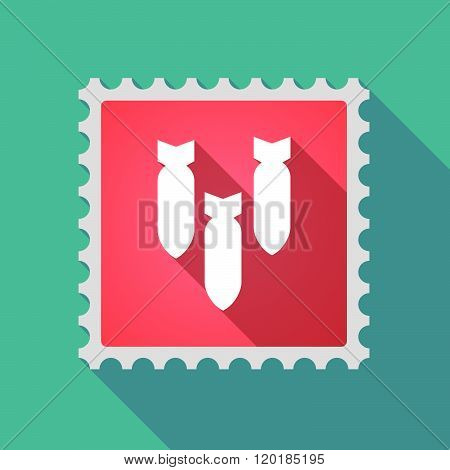 Long Shadow Mail Stamp Icon With Three Bombs Falling