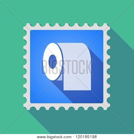 Long Shadow Mail Stamp Icon With A Toilet Paper Roll