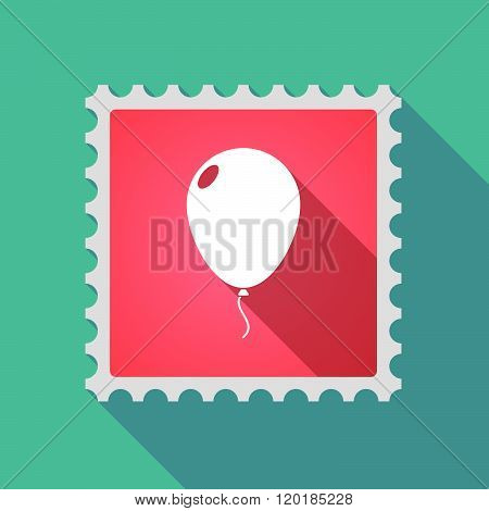 Long Shadow Mail Stamp Icon With A Balloon