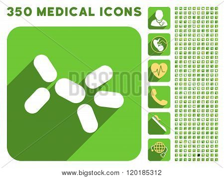 Yeast Icon and Medical Longshadow Icon Set