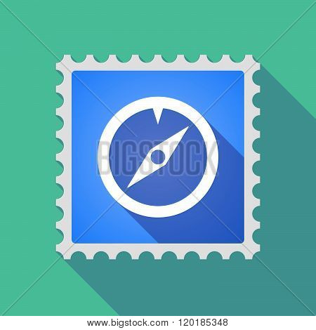 Long Shadow Mail Stamp Icon With A Compass