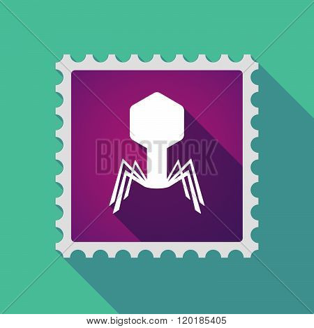 Long Shadow Mail Stamp Icon With A Virus