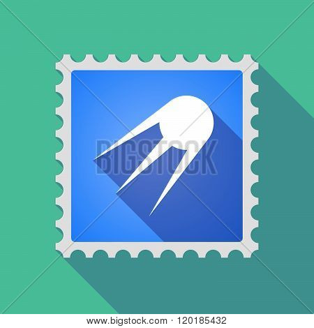 Long Shadow Mail Stamp Icon With A Vintage Satellite