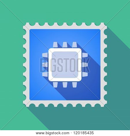Long Shadow Mail Stamp Icon With A Cpu