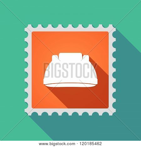 Long Shadow Mail Stamp Icon With A Work Helmet