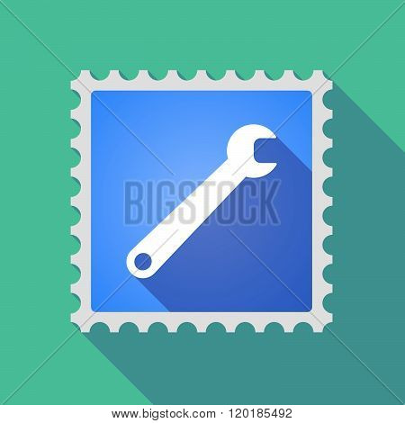 Long Shadow Mail Stamp Icon With A Spanner