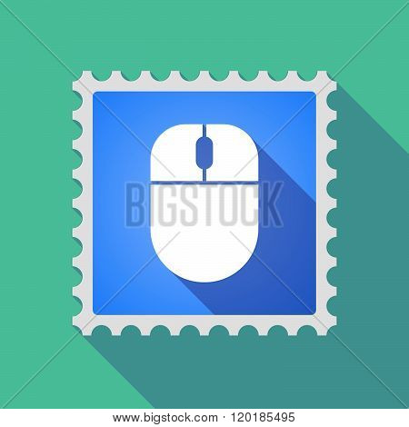 Long Shadow Mail Stamp Icon With A Wireless Mouse