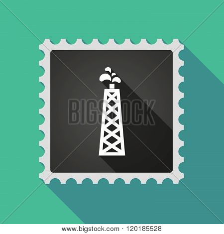 Long Shadow Mail Stamp Icon With An Oil Tower