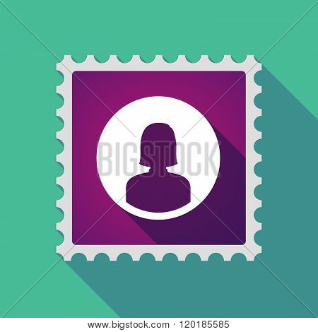 Long Shadow Mail Stamp Icon With A Female Avatar