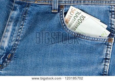 Close-up Of One Hundred Euro Banknote In Jeans Pocket.