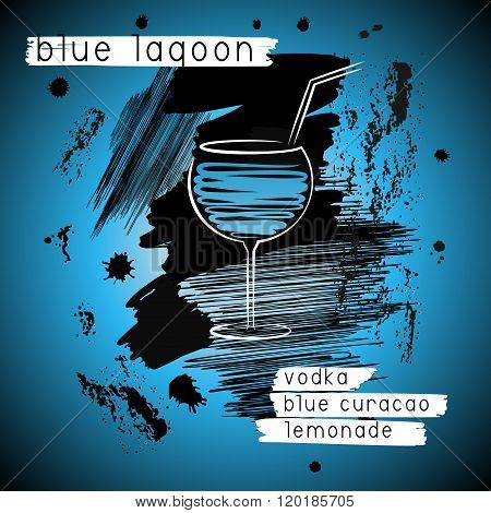 Blue Lagoon Cocktail In Grunge Style. Design For Promotional Flyer, Invitation, Banner Or menu
