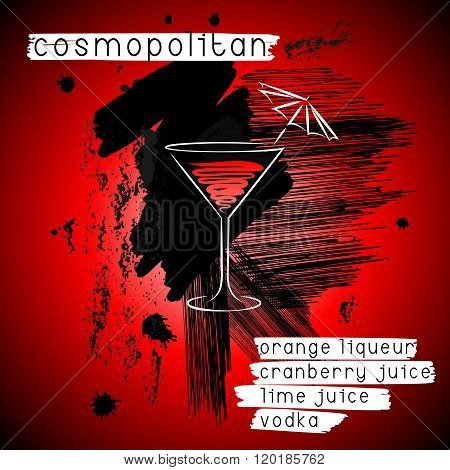 Cosmopolitan Cocktail In Grunge Style. Design For Promotional Flyer, Invitation, Banner Or menu
