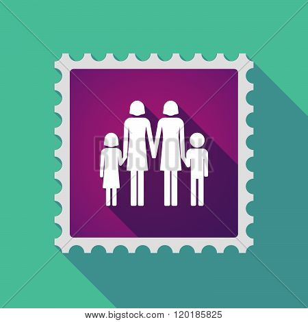 Long Shadow Mail Stamp Icon With A Lesbian Parents Family Pictogram