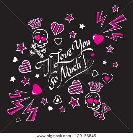 Gloomy And Grim Black And Pink Illustration Card With Skulls In Love.