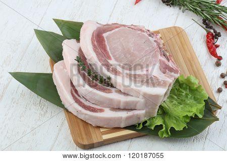 Raw Pork T-bone Steak