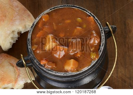 macro top view beef stew