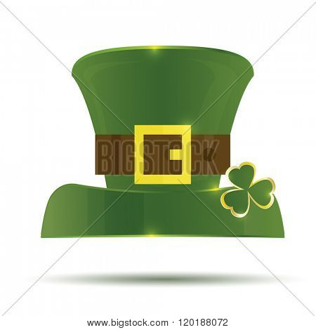 Green St. Patrick's Day Hat. Hat isolated on white background.
