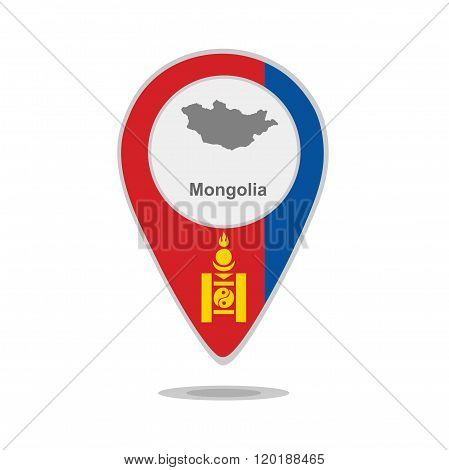 A pointer with map and flag of Mongolia