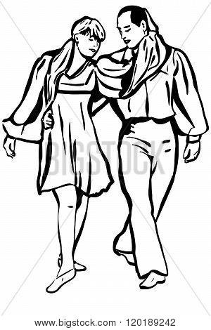 Vector Sketch Of Man And Woman Dancing Gently
