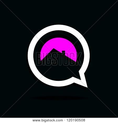 Home Icon Pink In Speech Bubble Illustration
