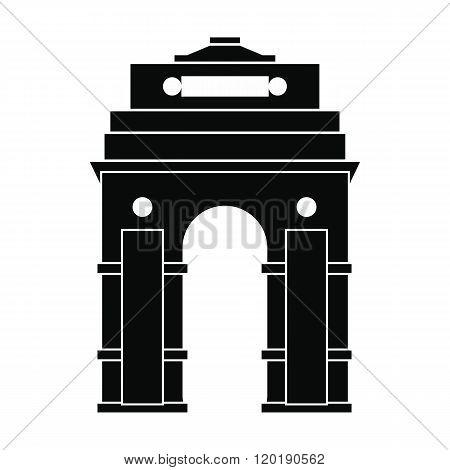 India Gate, New Delhi, India icon, simple style
