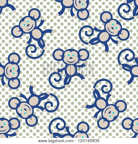 Blue Monkey Kid Seamless Vector Pattern For Textile Print.