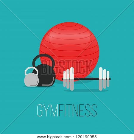 Sport Equipment Flat Banner Template. Gym Training, Bodybuilding, Healthy And Active Lifestyle, Fitn