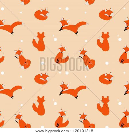 Cute foxes seamless vector pattern. Vector cute cartoon fox cub seamless pattern. Orange fox's head on dark background. Good for print textile fabrics decoration. Fox cub silhouette.