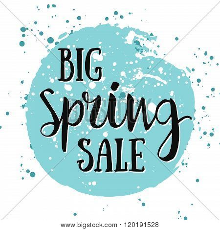 Big Spring Sale Watercolor Banner With Ink Splashes. Big Spring Sale Poster. Vector Illustration. Se
