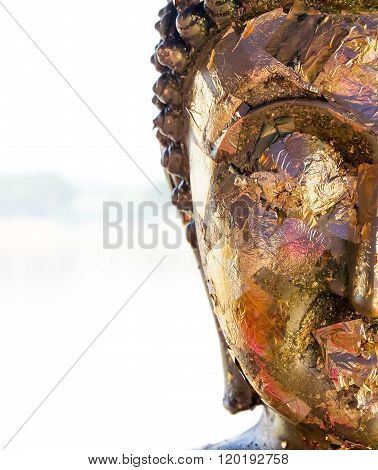 half face buddha in thai culture style