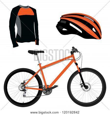 Orange Bicycle, Helmet And Shirt