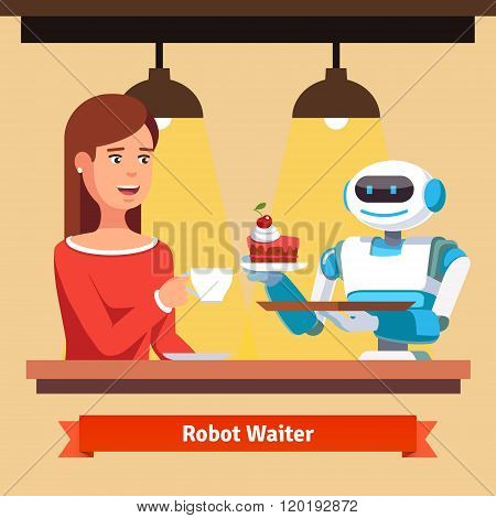Robot waiter serving coffee and cake