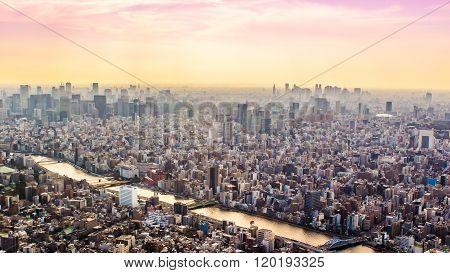 Aerial View Of Tokyo, Japan At Sunset