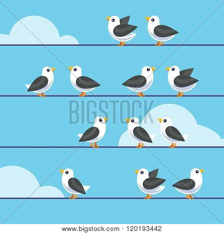 Flock of birds sitting on a wires