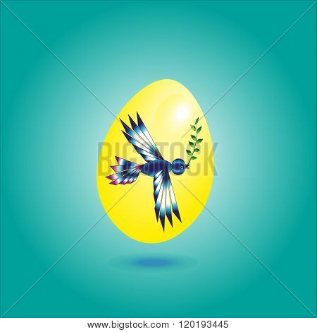 Illustration yellow egg with a bird