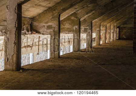 Perspective view of an abandoned attic. Urban decay