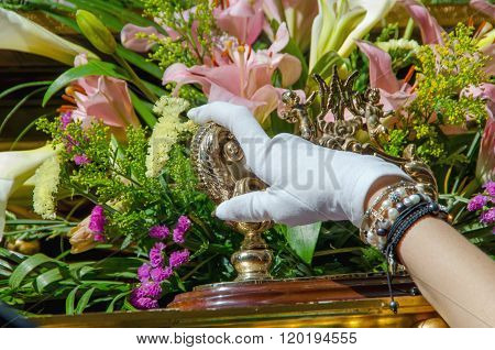 Foreman Hand With A White Glove In A Holy Week Procession