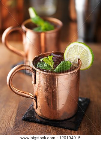 iced cold moscow mule with mint and lime