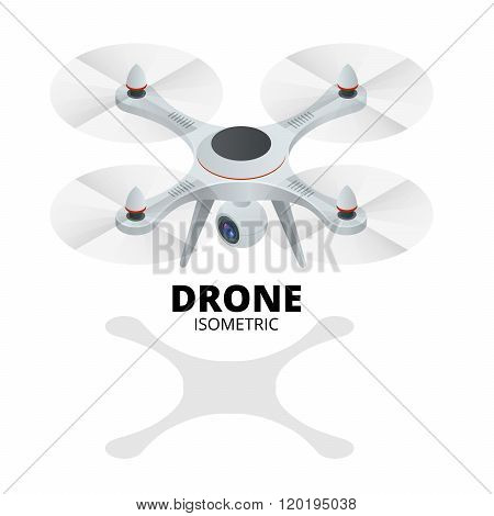 Drone isometric. Drone EPS. Drone quadrocopter 3d isometric illustration. Drone with action camera i