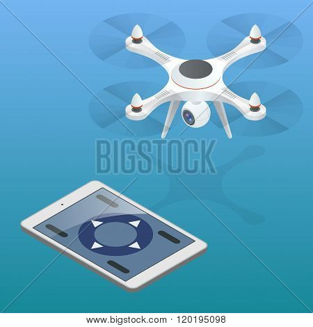 Full control of drone. Drone being flown in an urban area. Drone aerial photography concept. Drone i