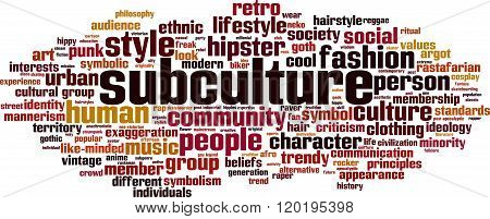 Subculture word cloud concept. Vector illustration on white