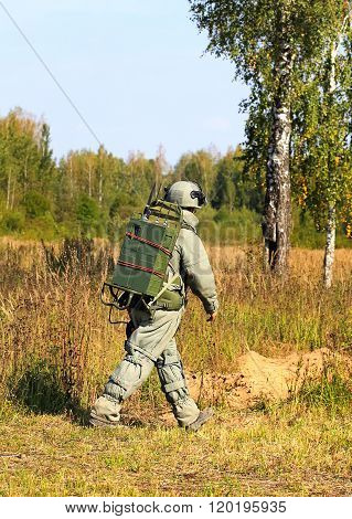 MOSCOW - SEPTEMBER 12: Minesweeper in equipment with remote control   on September 12, 2014 in Moscow region.
