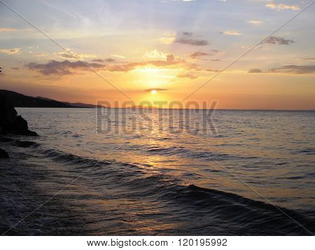 sunset in the Caribbean Sea.