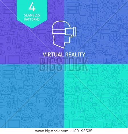 Thin Line Art Virtual Reality Pattern Set