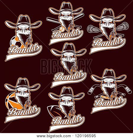 Set Of Skull Bandit Sports Labels . Concept Of Graphic Clipart Work