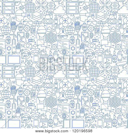 Thin Line Virtual Reality White Seamless Pattern